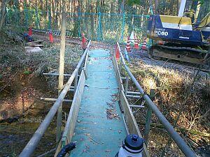 狭山湖の林道の橋が工事中。でもいつもとあまり変わらない(笑)