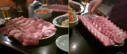 左が塩ロース、右が塩タン。見てのとおり、皿からはみ出してて、一枚平均8ミリぐらいある。