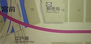日本橋駅で見つけた地図。郵便局が〒じゃないのは初めて見た。