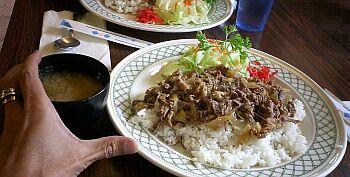 件の牛丼。平たい皿だし、サラダのドレッシングが牛丼のタレに染みてくるしの$7.95