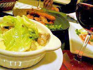 大山鶏と白菜のクリーム煮。