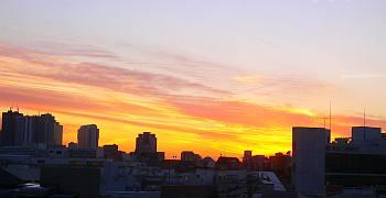 研究室から見た夕焼け。