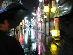 雨の中飲み屋を探すワタシたち。