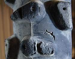 MTBのタイヤのパンク部分。内側からガムテで補強して乗り切った。