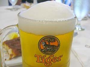 偶然ブラ美味いスター風な泡となるTigerビール。
