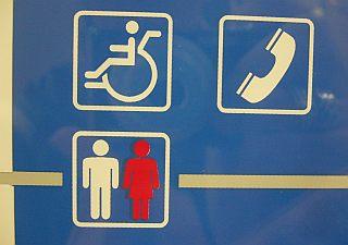 複雑な車椅子、妙に幼児体型なトイレのピクトグラム。