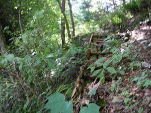 腐った橋はこれ?地面に投げ出してあるのか、川が埋まってるのか?