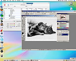 OSXのデスクトップに浮かぶWinのPhotoshop。VMだけどネイティブP4より速し。