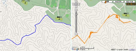 左がForerunner305、右がソニーGPS-CS1K。森の中でも新型は忠実にトレースしている。