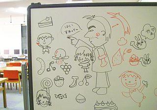 学生がキャーキャーやってたのを後で見たら、ワタシのイラストが(笑)