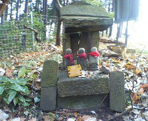 親しまれている感じのお地蔵さんと祠。丹沢から送られてきたもの。