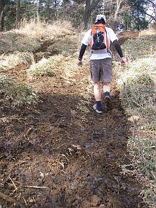 ヌルヌルで、田んぼみたいなところもあった。