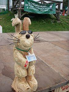 今大会のマスコットの木彫り。