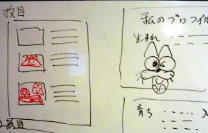 なぜかニャロメに見える学生の落書き。