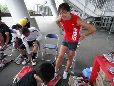 足のアライメントを計測中。