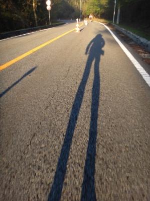 朝早いから、足が長く見える。