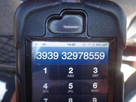 ワタシのイタリアでの電話番号