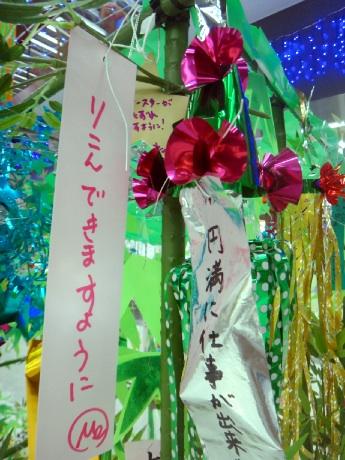 竹橋の笹にはシリアスな願いもチラホラ。