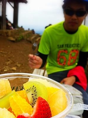 フルーツを昼食とす。
