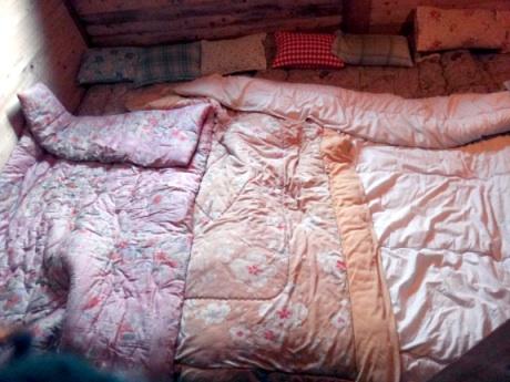 部屋一面にフトン、隙間なしに枕(T_T)