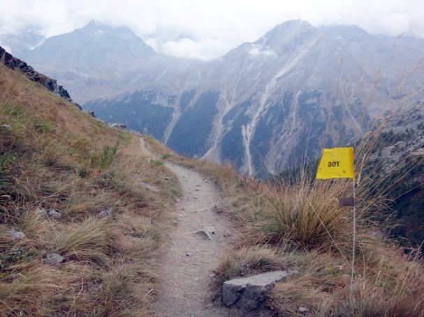 ここを下りきって、前にある山々に再アタックします。