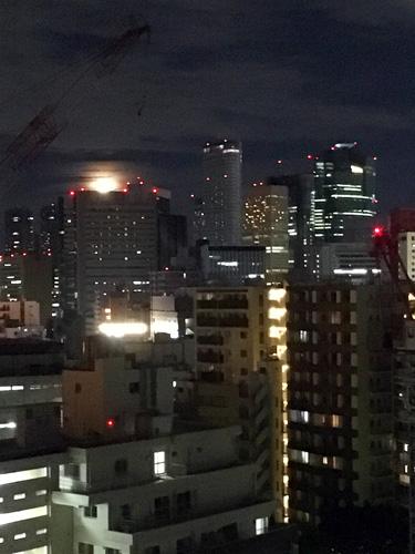 ビルに沈む月は珍しい