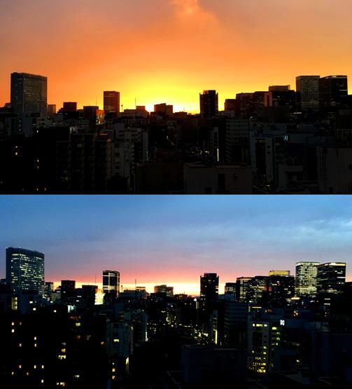 今日の夕焼けもなかなか(^o^)