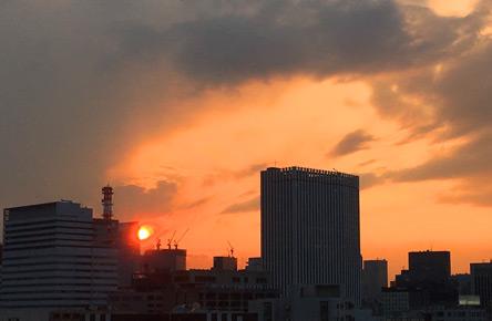 ちょっと変わった夕日が見れた