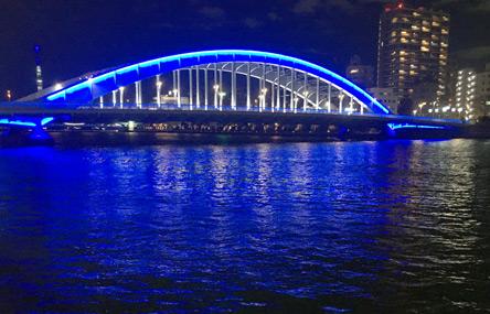 近くの橋はどれも夜景に映える